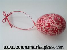 Great red and white ornament. Real Chicken Egg Ornament hollowed and dyed with wax resist technique – Tamm's Marketplace