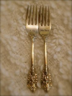 Vintage Gold, Wedding Forks, Hand Stamped -  As Seen on Glamour Magazine's Wedding Blog Great Gatsby Wedding, Wedding Blog, Perfect Wedding, Wedding Vintage, Wedding Ideas, French Wedding, Vintage Weddings, Hollywood Glamour Wedding, Old Hollywood Glam