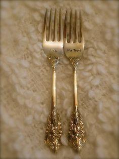 Vintage Gold, Wedding Forks, Hand Stamped -  As Seen on Glamour Magazine's Wedding Blog. $30.00, via Etsy.