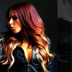 Deep red to blonde hombre.  Sooo doing this once my hair grows out!