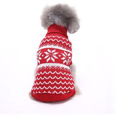 S-Lifeeling Snowflake Dog Sweater Holiday Halloween Christmas Pet Clothes Soft Comfortable Dog Clothes Red -- For more information, visit image link. (This is an affiliate link) #Cats