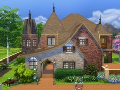 English Tudor style Chateau based on the design from Dallas Design Group; The Leader in Luxury Home Design.  Found in TSR Category 'Sims 4 Residential Lots'