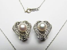 My Funny Valentine Vintage 14 Karat White Gold and Pearl Necklace and Earring Set