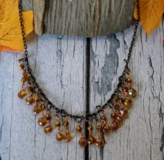 Golden Drops  Choker Necklace for fall gold by BlueWorldTreasures