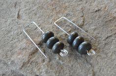 Tripple Pyrite Rondelle Rectangle Ear Hook - Modern Sterling Silver Earrings - Rustic Bronze by adrienneadelle, $19.95