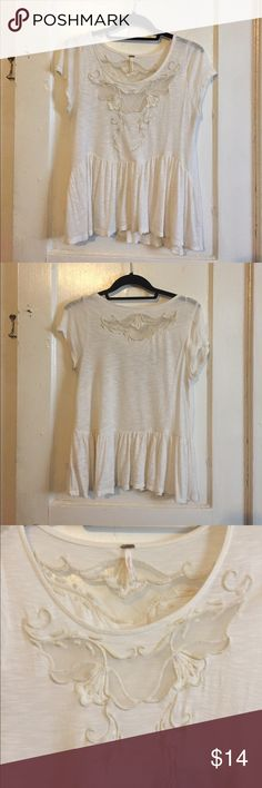 Free People White Peplum Top Free People white top. Peplum cut. Sheer detail in front and back. Small hole in front (price reflects this) Free People Tops Tees - Long Sleeve