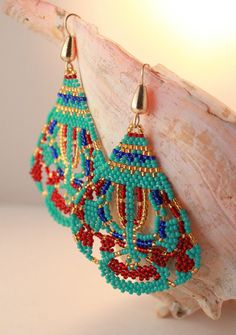 Bollywood Inspired Earrings,Oriental Seed Beaded Jewelry,Global Gypsy Tribal Earrings,Exotic Seed Beaded,Belly Dance Jewelry,India Inspired