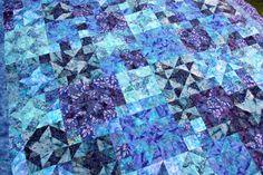 Blue Star Batik Patchwork Quilt Starlight by PingWynny on Etsy, $400.00