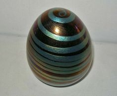 Spectacular SIGNED Maslach IRIDESCENT Cobalt GOLD 1978 BIG Glass PAPERWEIGHT Egg #StevenMaslach