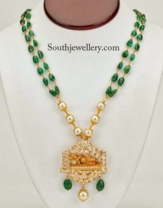 Emerald Beads Necklace Set with Designer Uncut Dia...