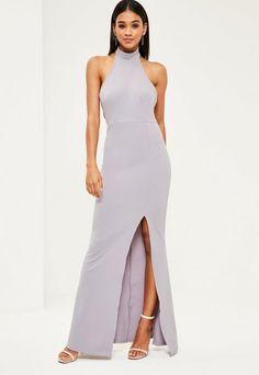 Missguided Gray Choker Maxi Dress e59dbbd25
