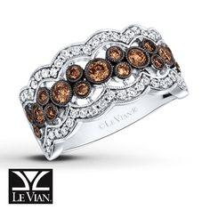 LeVian Chocolate Diamonds 3/4 ct tw Ring 14K Vanilla Gold