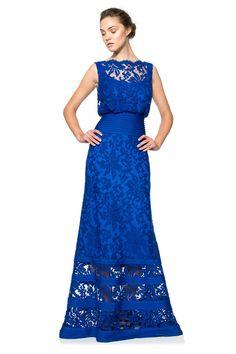 Tadashi Shoji - Embroidered Lace Blouson Waist Gown MOG