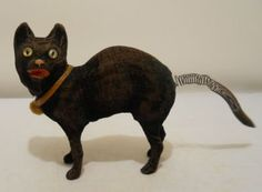 Antique Halloween Velvet Over Paper Mache Black Cat Candy Container W/ Spring Tail