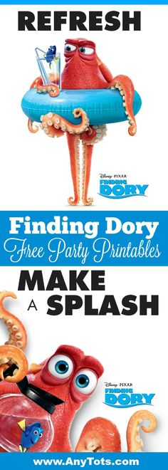 Finding Dory Free Printable Poster for a Fun Finding Dory Party. Also check the Free Finding Dory Party Invitation and Pin It Game. Visit www.anytots.com for more party ideas and free party printables.