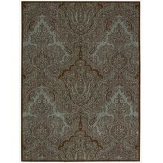 The classic paisley rug has been modernized with a blue,green and brown colors to create a distinctively fresh approach to floor covering. Made of New Zealand …