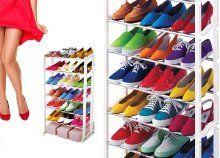 Könnyű, egyszerűen összeszerelhető, 7 soros műanyag cipőtartó 21 pár lábbelinek