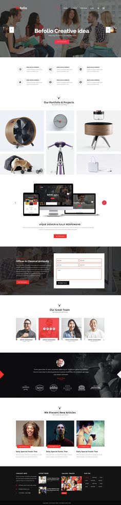 Befolio - Creative Multi-Purpose PSD Template. Comes with 11 stunning Pre-defined Homepages. Made for a freelancer, dressmaker or smaller corporations who are looking for fashionable, professional and minimum appearance. #Photoshop #design #template