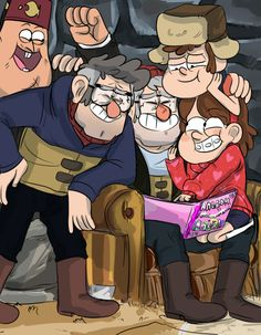 The Pines Family and Soos :) But he's like Stan's honorary son, so he's pretty much a Pines too