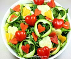 'I Heart Salad' - an easy and fun way to serve salad to your family this Valentine's Day. There's a recipe for gluten free honey mustard salad dressing included too! Happy Valentine's Day!!! <3