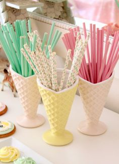 Ice cream cone cups at Concha's birthday party