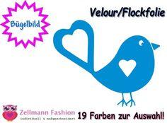 Süßer+Vogel+Velours+Bügelbild+Veloursmotiv+Flock+von+Zellmann+Fashion+auf+DaWanda.com