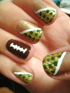 Green and gold football nails. #USF