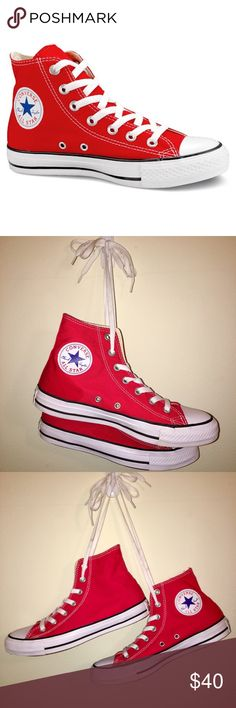 22e408503143ee ️perfect condition - size 7.5 RED HIGHTOP CONVERSE‼️perfect condition - only  worn once - men s size 5.5 women s size 7.5 Converse Shoes Sneakers