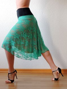 Aqua Lace Tango Skirt on Etsy, $97.14
