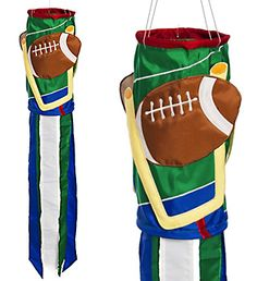 """Football Sculpted Windsock from Evergreen's Sculpted Appliqué Windsock Collection. Size approximately 10.5"""" wide and 60"""" long.  **Free Shipping to anywhere in the USA.**"""