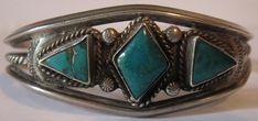VINTAGE NAVAJO INDIAN TWISTED WIRE STERLING SILVER TRIANGLE TURQUOISE BRACELET