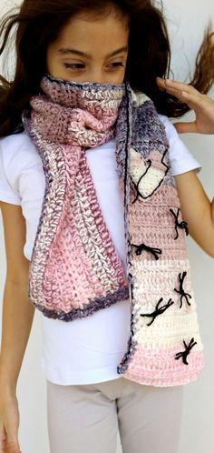 powder pink cream , crochet scarf for girl.https://www.facebook.com/hookyhat/