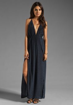 INDAH River Split Front Wrap Side Evening Dress in Padi Black - Indah