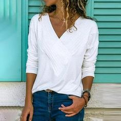 Autumn Winter Long Sleeve Pleated Blouse Women Shirts Casual Solid VNeck Shirt Plus Size Women Blouses Top Blusas Blouse Col V, V Neck Blouse, Linen Blouse, Plus Size T Shirts, Casual T Shirts, Casual Tops, Casual Outfits, Beach Casual, Simple Shirts