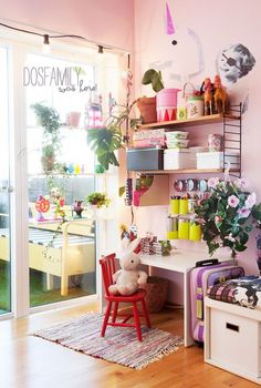 @Dos Family created a beautiful and creative space for her child using the STUVA bench as a desk.  It is the perfect height for little ones.