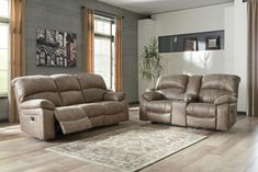 Dunwell 2-Piece Power Recliner Living Room Set in Driftwood