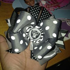 Made with Love by Momma Bee  Oakland Raider Over the Top Hair Bow!!!! My nieces are gonna look adorable in these