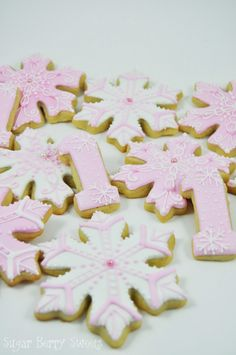 Winter Wonderland Onederland Snowflakes and number One Cookies - 1 Dozen - cute pink sugar cookies - perfect for Girl First Birthday Party First Birthday Winter, Winter Wonderland Birthday, Winter Birthday Parties, First Birthday Themes, Baby Girl First Birthday, Birthday Ideas, Birthday Bash, Winter Onederland, Birthday Cookies