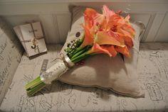 Orange and Sherbet Calla Lily Bridal Bouquet Shabby Chic Burlap and Lace Wrap with Fleur De Lis Charm Bride Wedding