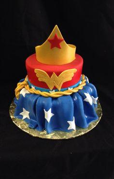 Wonder Woman 2 teired cake, designed my Sam Lucero, Blue Cake, Little Rock AR