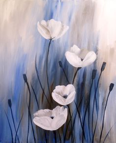 Acrylic painting  White Poppies | Creatively Uncorked | http://creativelyuncorked.com