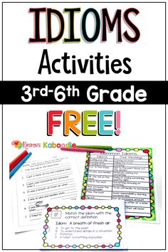 Idioms Activities and Anchor Charts FREE Do your students struggle with figures of speech? This FREE idioms activities for kids includes multiple pages of phrases, activities, and task cards for you to use with your students. Figurative language is excep Idioms Activities, Speech Therapy Activities, Language Activities, Classroom Activities, Teaching Language Arts, Classroom Language, Free Activities, Speech Language Therapy, Speech And Language