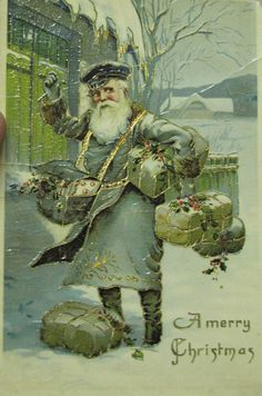 4 antique postcards 1908 Santa Claus Blue postman & brown Suit embossed gilded | eBay