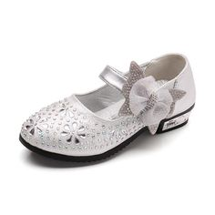 Silver Flower Girl Party Shoes