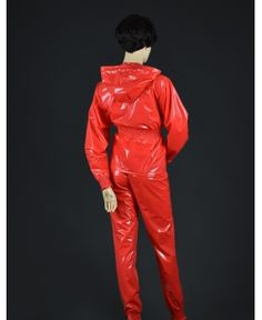 """Plastik-Anzug """"Palina"""" Red Leather, Leather Pants, Pvc Hose, Red Raincoat, Vinyl Clothing, Overalls, Outfits, Clothes, Fashion"""