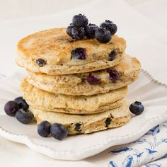 Fluffy pancakes perfect for Phase 1 and Phase 3 of the Fast Metabolism Diet. Top these off with berries of your choice for a delicious and hearty breakfast. #FastMetabolismDiet,