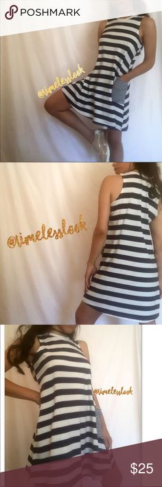 """Navy stripes nautical cute side pocket  dress @goguios in insta modeling (account manager) •no trades 🚫 •SHIPS TOMORROW💋  •NWT - brand: Timeless Look Boutique     Selling last two available in our shop super adaptable to wear with jeans/ shorts  - we are clearing out our pop up shop so selling here! Material: cotton - spandex mix  🎀visit """"Closet Rules"""" for more info - Timeless Look Men @timelesslookmen NOW OPEN more info in closet 💕 boutique Dresses Mini"""
