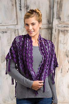 Dusky Fringe Shawl By Elisabeth Davis de Herraiz - Free Crochet Pattern - See http://www.crochet-world.com/newsletters/images/2015/40201315-06/DuskyFringeShawl.pdf For PDF Pattern - (crochet-world)