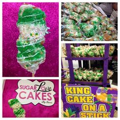 Mardi gras deliciousness on a stick - what's not to like? King Cake built to travel - GENIUS!