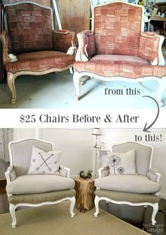 $25 Craigslist chairs before and after: With simple sewing and no previous major upholstery skills, these 1970s French chairs got a fabulous makeover and now look like $1200 Restoration Hardware chairs!
